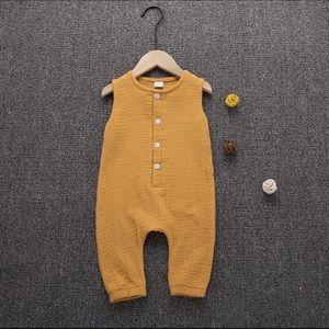 Other - Brand New Mustard Muslin Unisex Jumpsuit 6-12 Mon